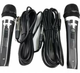 Kit 2 Microfone Profissional Com Fio Cabo 3,8m P10 Igreja