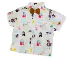 Camisa temática infantil mundo bita e os animais