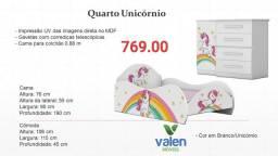 Cama + Comoda Infantil Unicórnio - Entrega hojee
