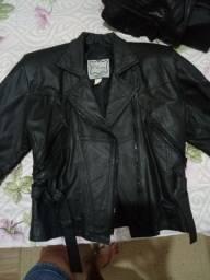 Jaqueta de couro para motoqueira