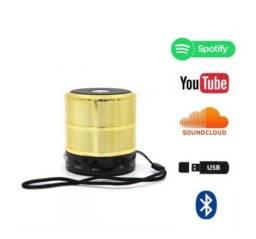Caixa de Som Recarregável Bluetooth, com FM , Entrada para Cartão de Memória e Pen Drive