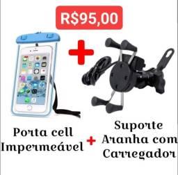 Suporte aranha com carregador + porta celular impermeável