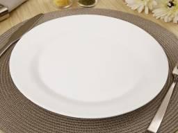 Prato branco, raso, 27cm, peso controlado próprio para restaurantes, peso certo kilo certo