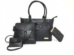b077acd63 Kit 3 Bolsas Femininas de couro sintético + carteira no atacado Preço de  Custo