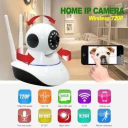 Cameras Ip Sem Fio Hd 720p 1.3 Mp Wi-fi Noturna Gira 360 Graus - Frete Grátis