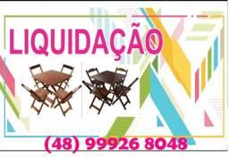 Mesa com 2 cadeiras Dobrável - pintura em verniz