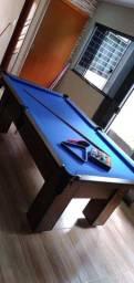 Mesa de Bilhar Charme Imbuia Tecido Azul Modelo KKJD5000
