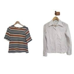 2 camisas, sendo uma social listrada tamanho PP e outra tamanho P