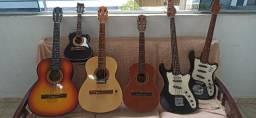 Lote de instrumentos de cordas, violão,guita,c.baixo,cavaco