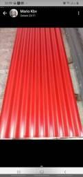Telha ondulada e  trapézio vermelha