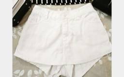 Short saia branco veste 36 38