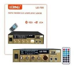 Título do anúncio: Amplificador Áudio Receiver Bluetooth Som 110v Usb Le-705 - Loja Natan Abreu