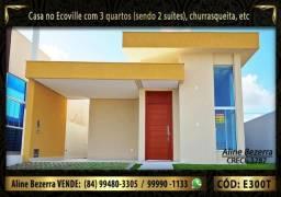 Casa no Ecoville com 3 quartos sendo 2 suítes, churrasqueira, sombra, confira