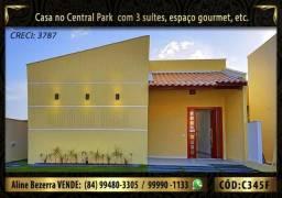 Casa com 3 suítes no condomínio Central Park em nova Parnamirim, churrasqueira, confira