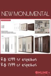 Guarda Roupa New Monumental- com e sem espelho- 3 portas- várias cores /// imperdível!!