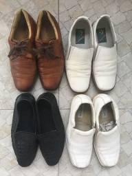 Sapatos couro masculino legitimo s/ novos R$75,00 C. Frio