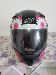 Capacete EBF feminino fada preto e rosa