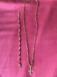 Cordao, pulseira e pingente de moeda antigas