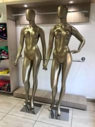 Manequim Feminino De Fibra Cor Ouro C/ Base Cromado