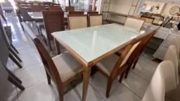 Mesa de madeira maciça toda com 6 completa
