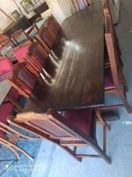 Mesa madeira rústica antiga dez cadeiras usada