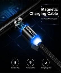 Cabo Carregador Magnético Usb 3 Em 1 Tipo C/ Led Ios Android