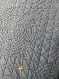 Colar de ouro maçico + pingente maciço crucifixo.