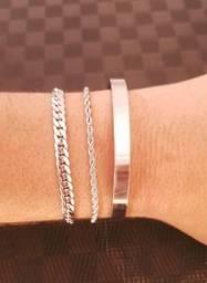 Conjunto de pulseira em aço inoxidável