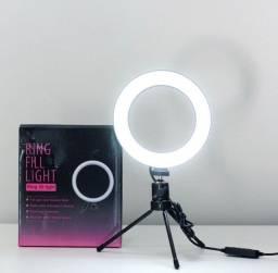 Ring Light 16cm USB com Mini Tripé de Mesa