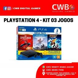 Playstation 4 1TB kit 3 jogos Novo, lacrado e com garantia de 01 ano , Loja Física