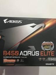 Placa mãe processadores ryzen Aorus B450 Elite am4 ddr4, ATX- NOVA