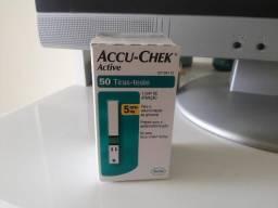 Fitas teste de glicemia accu-check active caixa c/ 50 testes