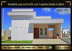 Excelente casa no Ecoville com 3 quartos sendo 2 suítes e 1 semi-suíte