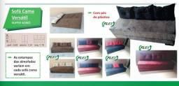 Sofá cama cinza com pezinhos