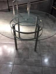 Mesa de Jantar com Vidro e Prato Giratório