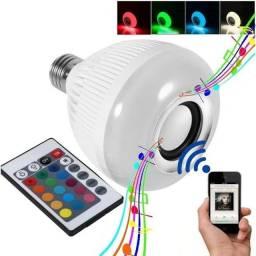 Lâmpada luz led colorida 16 Cores 12w com caixinha de som Bluetooth 2 em 1 música bulb+