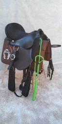 Sela Para Cavalo   Australiana Couro Búfalo + Manta Brinde