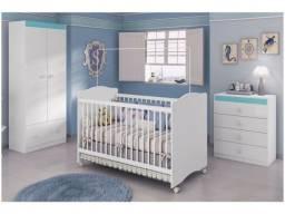Quarto de Bebê Completo com Berço Guarda-Roupa - Cômoda Móveis Estrela Satriani<br><br>