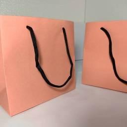 Sacola  de papel Rosa PP horizontal (maletinha)