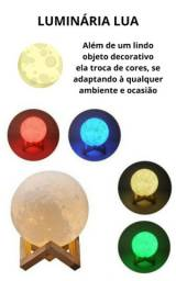 Luminária Lua Cheia 3D Troca de Cor
