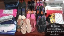 Roupas e Sapatos - Lote 42 peças para brechó