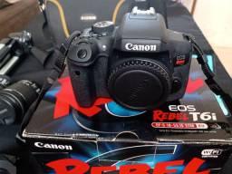 Câmera profissional Canon T6i com 18-55 e 55-250mm