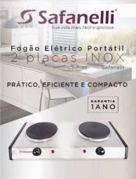 FOGÃO ELÉTRICO PORTATIL INOX 2 PLACAS 220V SAFANELLI