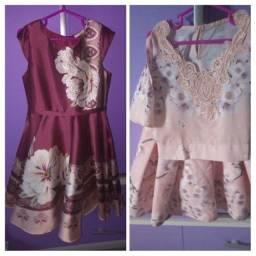 Vestido e conjunto saia e blusa Petite cherie tamanho 6 anos e Acompanha tiara princesa
