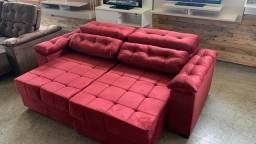 Sofa grande vermelho, novo, parcelo no cartão