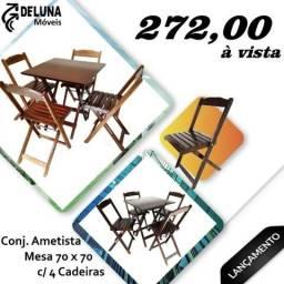 Conjunto Mesa 70x70 com 4 Cadeiras Dobrável