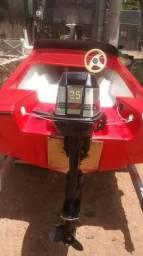 Lancha com motor 25hp - 2000