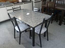 Mesa tubular granito 4 cadeiras nova