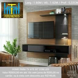 Painel Home para TV até 55 Pol 3 Prateleiras 2 Nichos (montagem grátis)