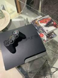 PS3 desbloqueado + 1 controle + Mais de 40 jogos